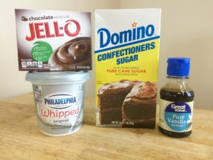 Valentine's Day cupcakes, Chocolate Pudding Cream Cheese Frosting Ingredients